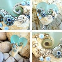 Sea Spray Heart Necklace | Glass Pendant | Julie Fountain